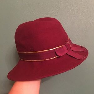 Vintage Mr K Wool Felt Hat Burgundy & Gold